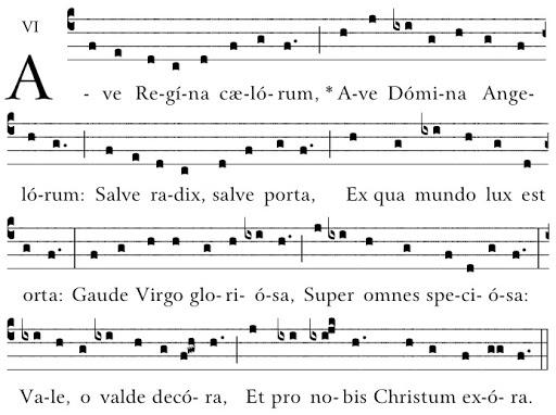 Salve Regina Coelorum en gregoriano con punctum quadratum